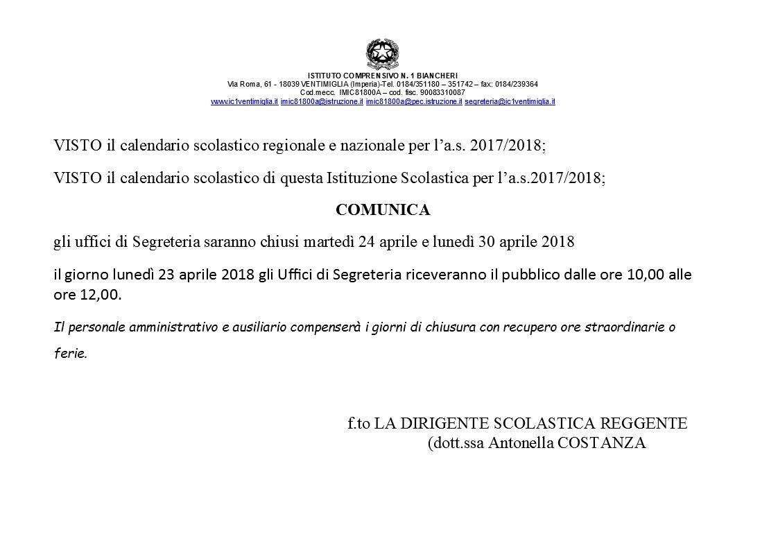 Calendario Scolastico 2020 20 Liguria.Calendario Scolastico Istituto Comprensivo N 1 Biancheri